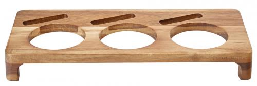"Acacia Presentation Stand to hold 3 Serving Dishes 16.5 x 7"" (42 x 18cm)"