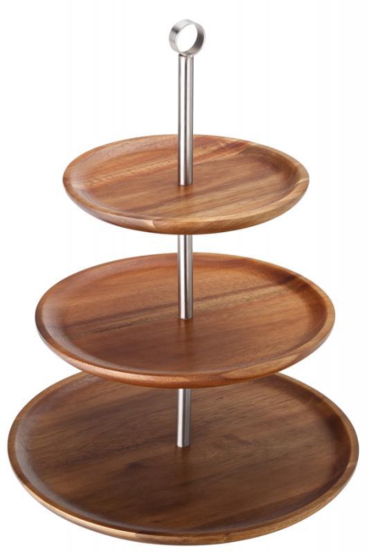 "3 Tiered Acacia Sharing Platter 12, 9.75, 8.25"" (30.5, 25, 21cm)-1"