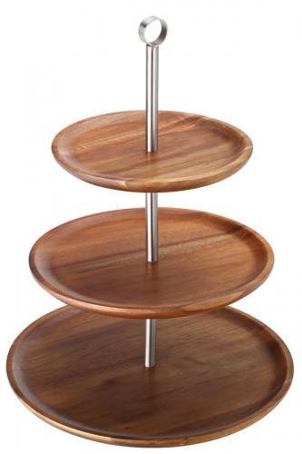 "3 Tiered Acacia Sharing Platter 12, 9.75, 8.25"" (30.5, 25, 21cm)1"