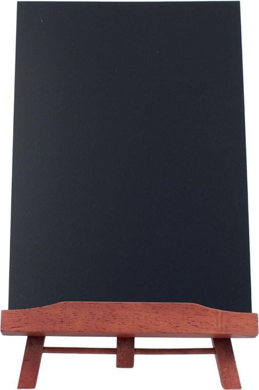 Securit® Table Tripod, including removable A4 chalkboard - Wood with lacquered mahogany finish