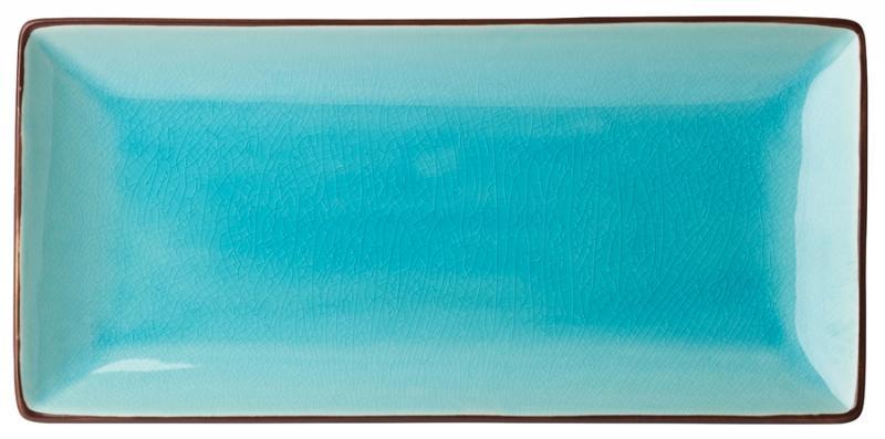 """Aqua Rectangular Plate 11.5x5.5"""" (30x14cm)"""