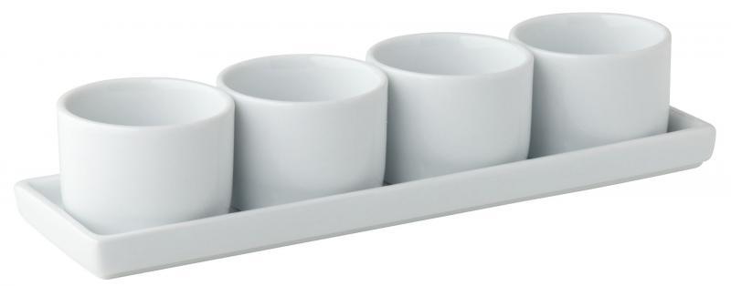 "Gourmet 4 Round Bowls & Tray 9 x 2.75"" (24.5  x7cm) 2oz (6cl)6"