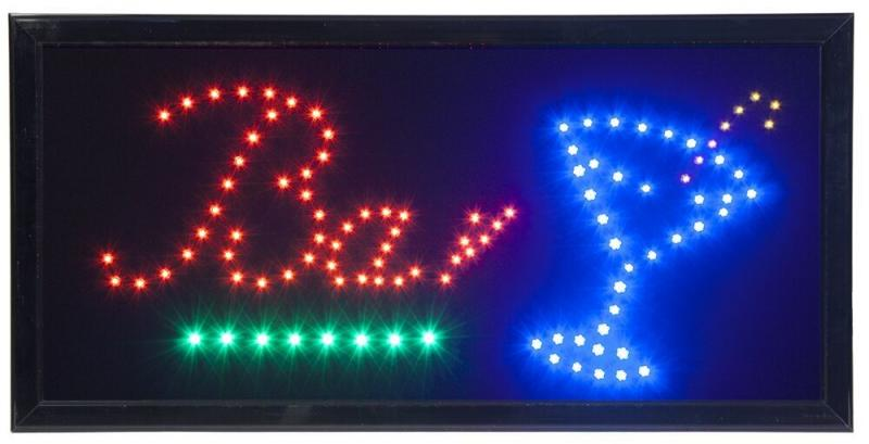 Securit® LED sign - BAR - Red, blue & green (flashing) lights - 220v AC adaptor & 130cm cable included