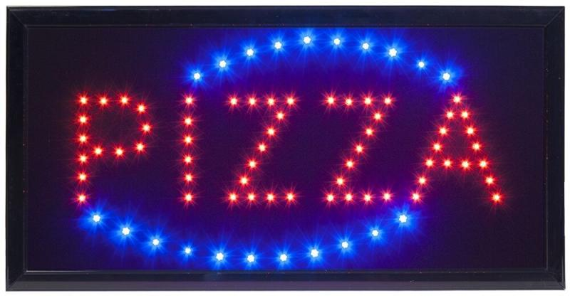 Securit® LED sign - PIZZA - Red & blue (flashing) lights - 220v AC adaptor & 130cm cable included