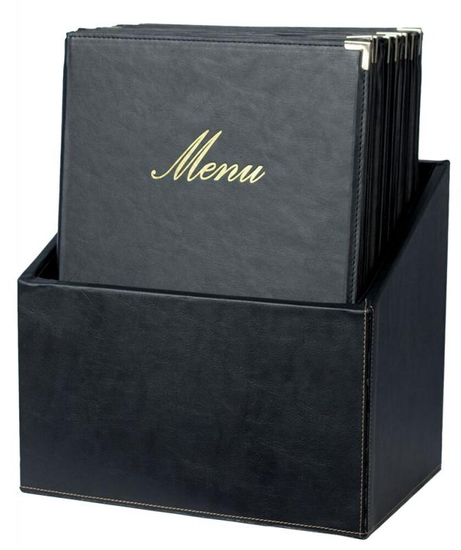 Securit® Classic leather style menu holders in box - (1 double insert included in each menu holder, which displays 4x A4) - Set of 20 A4 menu holders