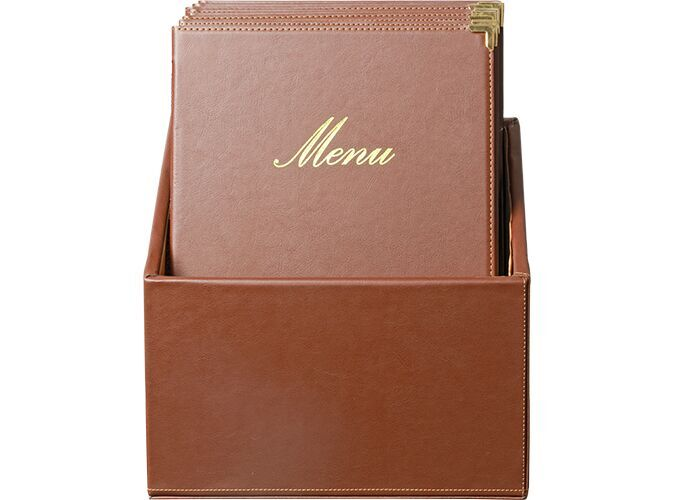 Classic leather style A4 menu holders (x20)+ box, 1 double insert incl. w each menu (displays 4 A4 pages)