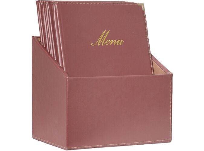 Securit Classic Long Range Menu Holder with 1 Double Insert Wine Red