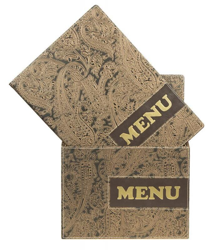 Design leather style A4 menu holders (x10)+ box, 1 double insert incl. w each menu (displays 4 A4 pages)