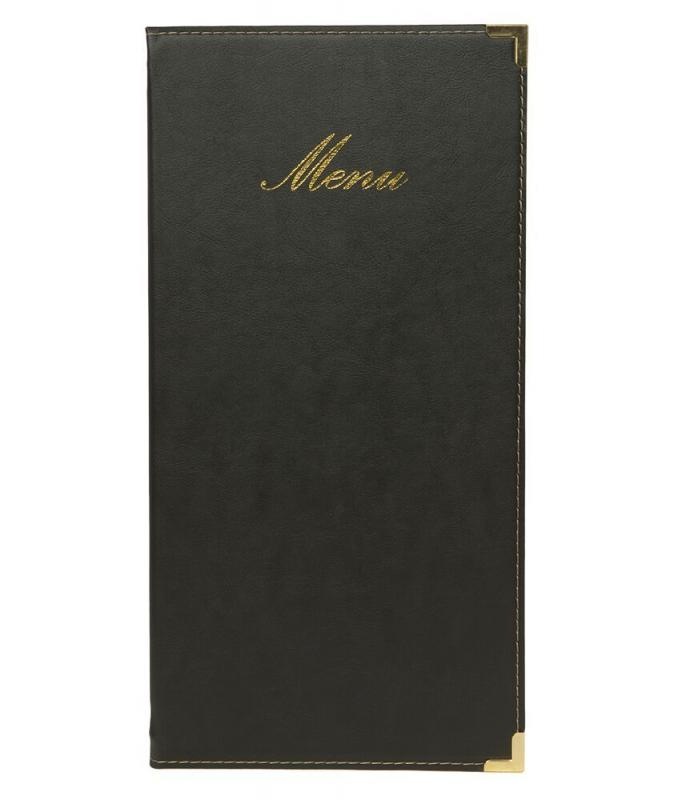 Classic leather style long menu holder, w 1 double insert (displays 4 A4/A5 pages )