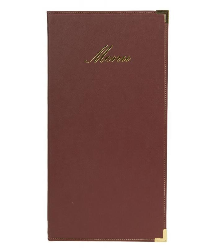 Securit® Classic leather style long menu holder - (1 double insert included in each menu holder, which displays 4x A45) - A45