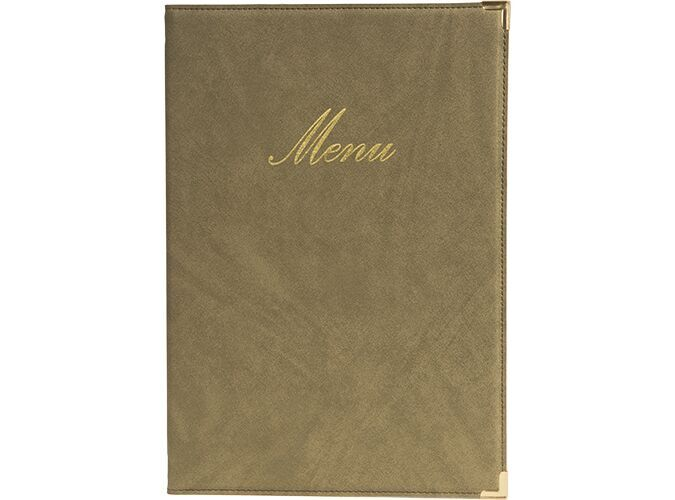 Classic leather style A4 menu holders, 1 double insert incl.  (displays 4 A4 pages)