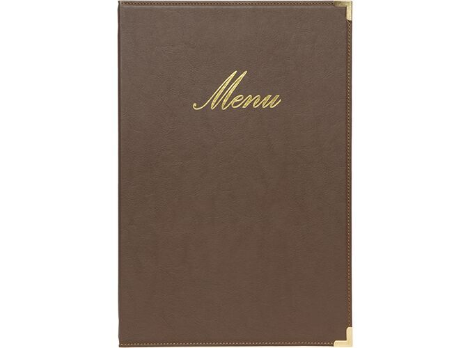 Securit® Classic leather style menu holder - (1 double insert included, which displays 4x A4) - A4