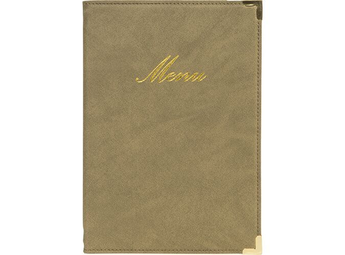 Classic leather style A5 menu holder, 1 double insert incl. (displays 4 A5 pages)