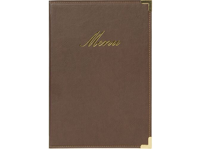 Securit® Classic leather style menu holder - (1 double insert included, which displays 4x A5) - A5