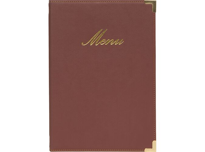 Securit® Classic leather style menu holder - (1 double insert included, which displays 4x A5) - A6