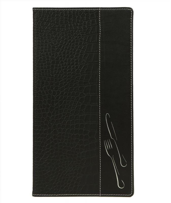 Design crocodile leather style long menu holder, 2 embedded inner display windows and 1 insert (Displays 6 A4/A5 pages)