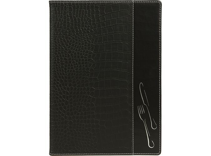 Design crocodile leather style A4 menu holder, 2 embedded inner display windows and 1 insert (Displays 6 A4 pages)