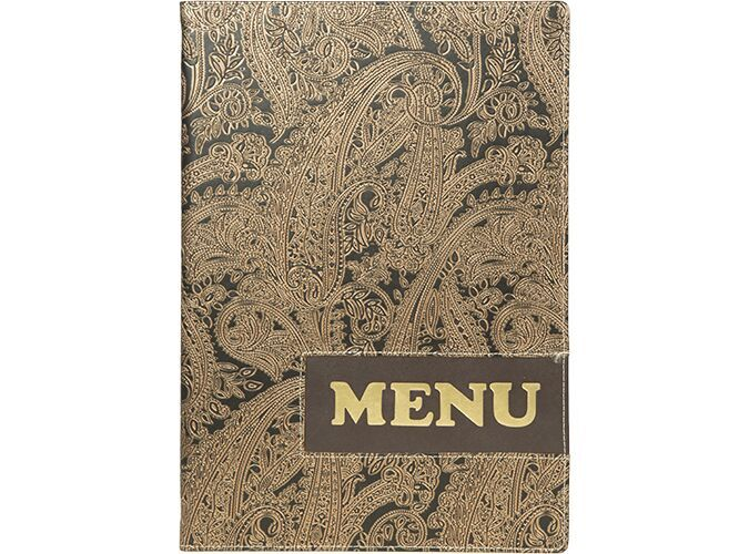 Design leather style A4 menu holder,1 double insert incl.(displays 4 A4 pages)