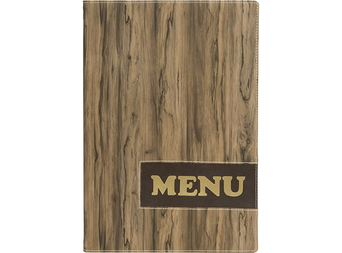 Design A4 leather w printed wood effect menu holder, 1 double insert incl. (displays 4 A4 pages)