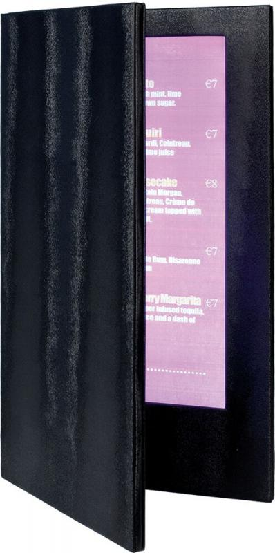 LED menu holder, w technology imbedded in a luxurious leather style holder.  Displays 2  long paper or transparent inserts (A4/A5).