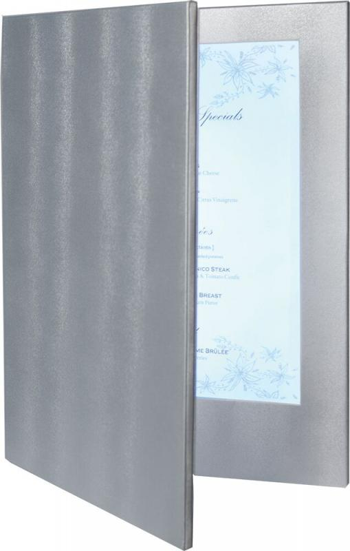 LED menu holder, w technology imbedded in a luxurious leather style holder.  Displays 2  A4 paper or transparent inserts.