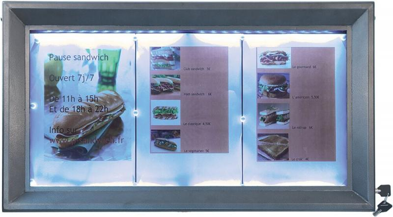 LED information display,white LEDs,gun grey coated steel,displays 3xA4 pages