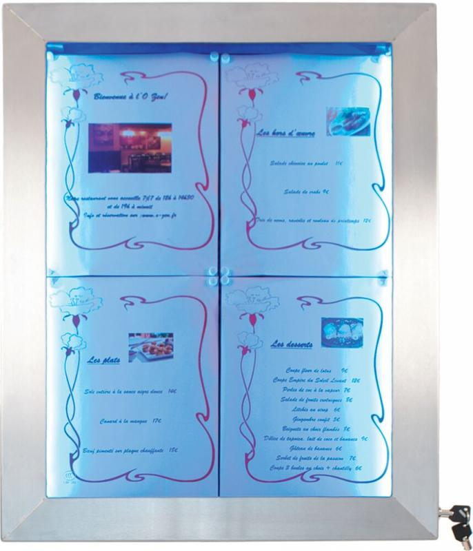 LED information display,coloured LEDs,stainless steel,Remote included, disp.4xA4 Pages