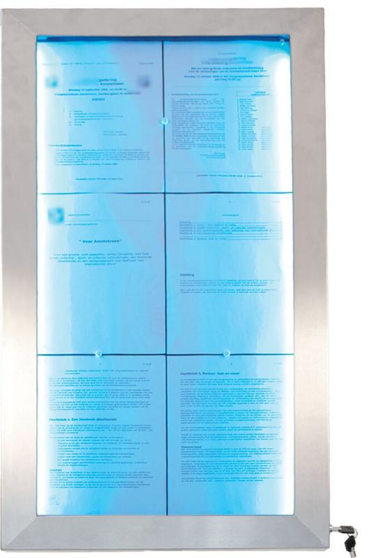 LED information display,coloured LEDs,stainless steel,Remote included, disp.6xA4 Pages
