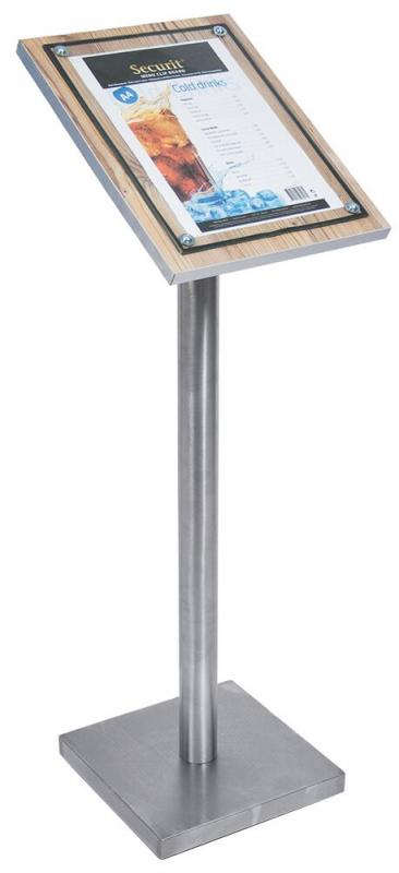 Glass Star A4 Oak information display, w a stainless steel style edge and a front glass plate. For post or wall mounting. 28x37x3cm