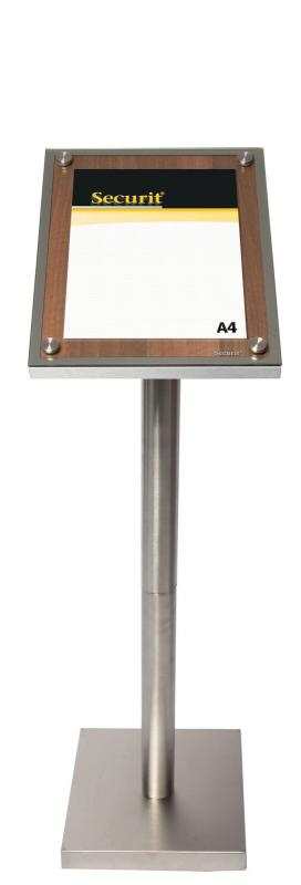 Glass Star A4 Walnut information display, w a stainless steel style edge and a front glass plate. For post or wall mounting. 28x37x3cm