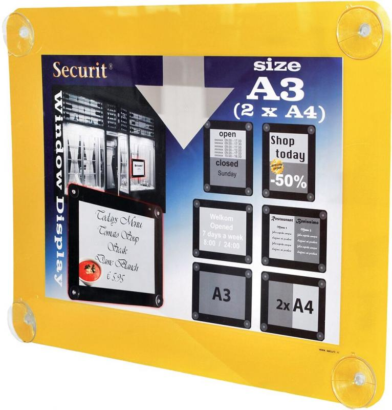 Securit® Window poster frame - Double sided and UV resistant - 4 suction cups included - A3
