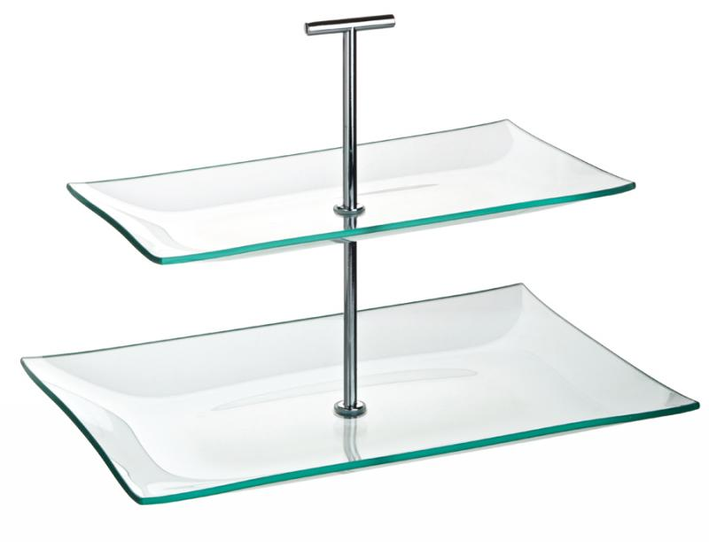 "Aura 2 Tiered Rectangular Glass Plate 11.75 x 8"", 10.25 x 5.75"" (30 x 20.5cm, 16 x 14cm)"