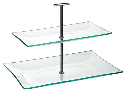 "Aura 2 Tiered Rectangular Glass Plate 11.75 x 8"", 10.25 x 5.75"" (30 x 20.5cm, 16 x 14cm)-1"