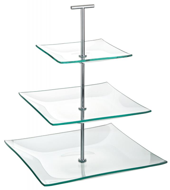 "Aura 3 Tiered Square Glass Plate 9.75, 8, 5.75"" (24.5, 20, 14.5cm)-1"