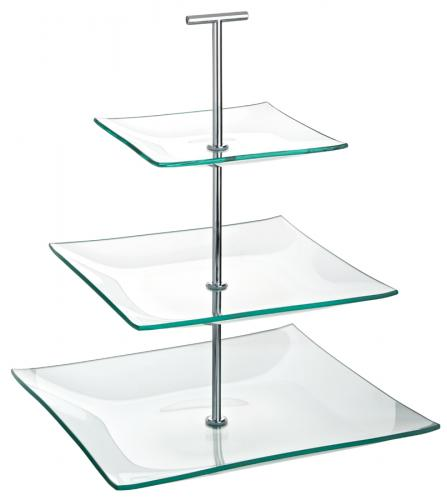 """Aura 3 Tiered Square Glass Plate 9.75, 8, 5.75"""" (24.5, 20, 14.5cm)-1"""