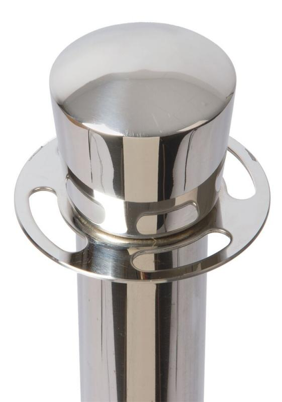Classic barrier post - chrome - flat head post - 100cm (base not included)