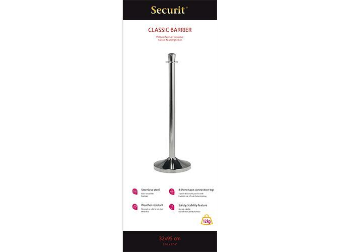 Securit® Classic barrier set - Flat head post - Four way rope connection ring