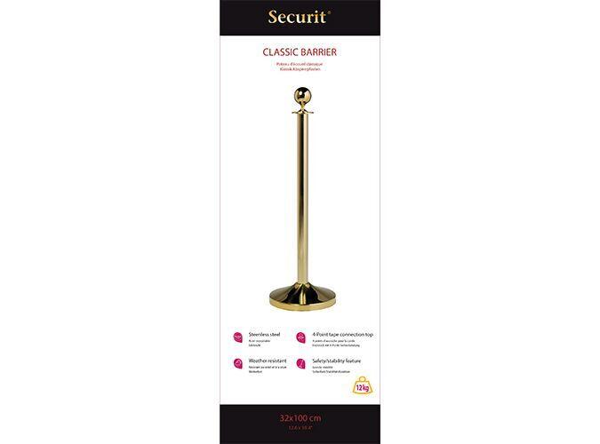 Classic barrier set - gold - flat head post - 100cm & round base 31x31cm