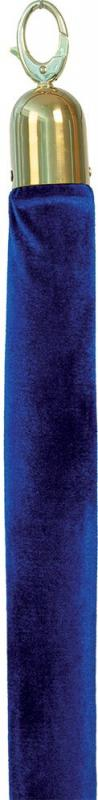 Classic velvet barrier rope - blue with gold ends - 150cm