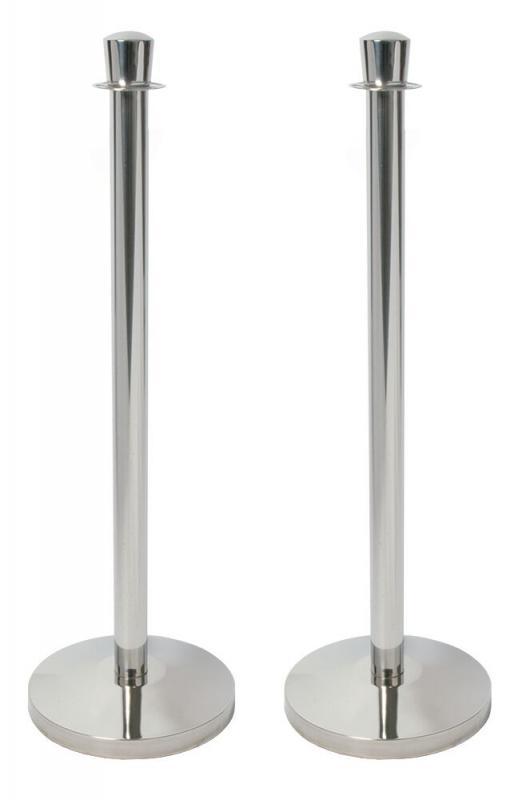 7.5kg Barrier Set (Base + Post) - Chrome - set of 2 - 32x95cm