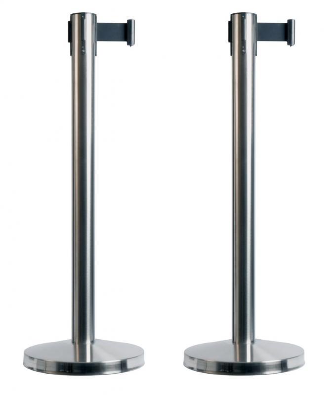 Securit® Budget retractable barrier set (pole & base) - Black nylon tape (210cm) - Set of 2