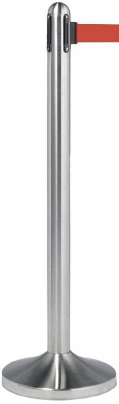 Retractable barrier post w black nylon tape, stainless steel, Post 100cm (tape 210cm), Base 31x31cm.