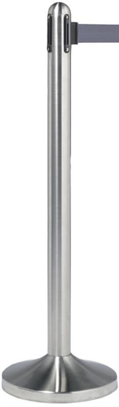 Retractable barrier post w grey nylon tape, stainless steel, 100cm (tape 210cm) (base not included)
