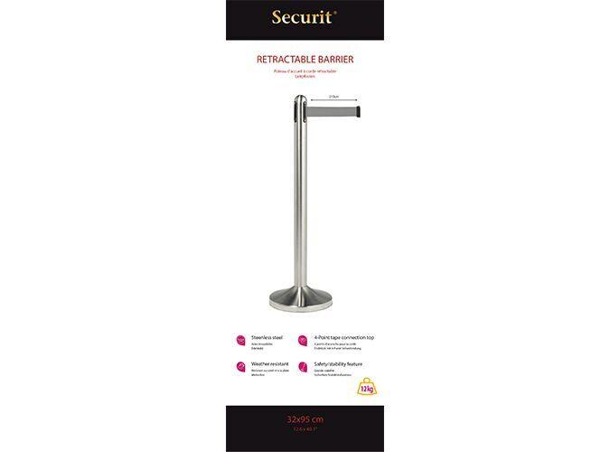 Retractable barrier post w grey nylon tape, stainless steel, Post 100cm (tape 210cm), Base 31x31cm.