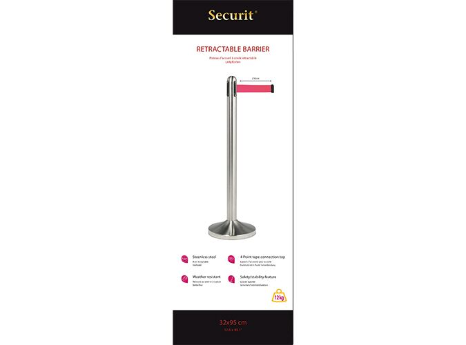 Retractable barrier post w red nylon tape, stainless steel, Post 100cm (tape 210cm), Base 31x31cm.