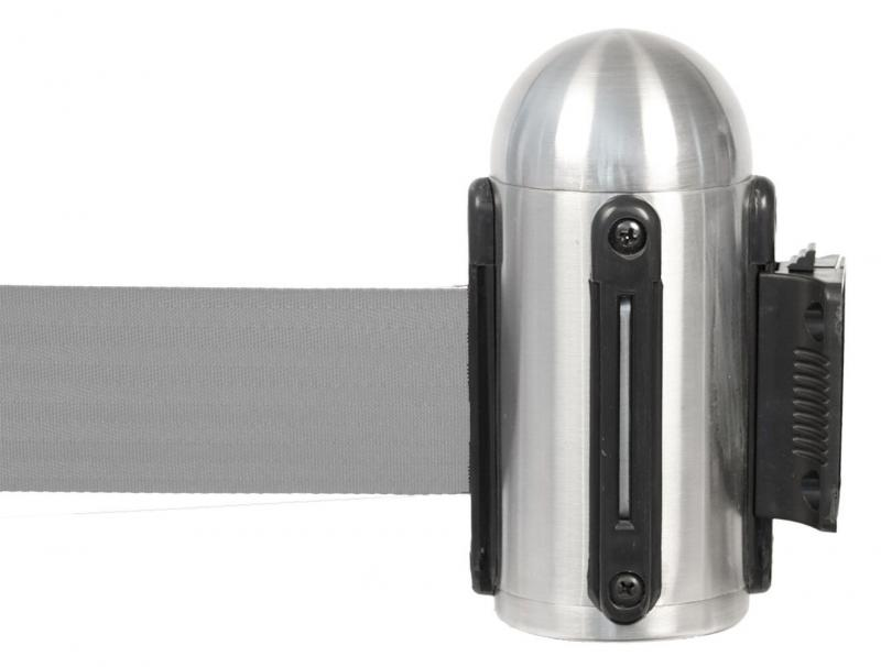 Retractable wall mounted barrier w grey nylon tape, stainless steel, wall mounting fixtures included - 210cm