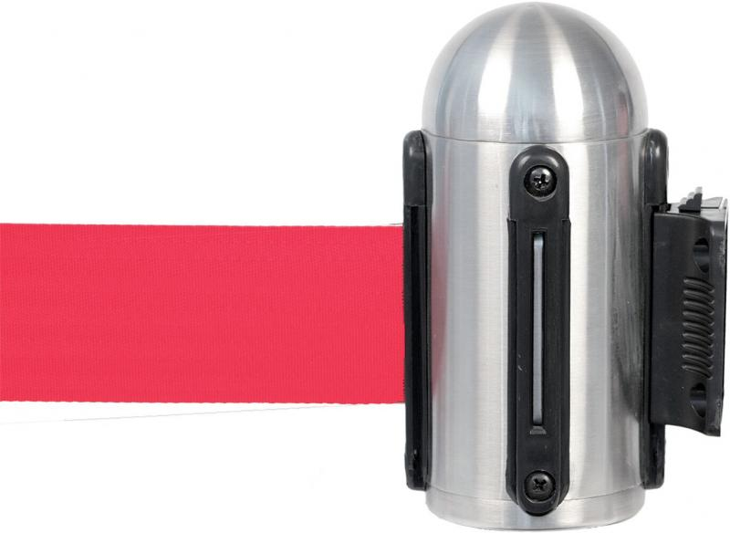 Retractable wall mounted barrier w red nylon tape, stainless steel, wall mounting fixtures included - 210cm