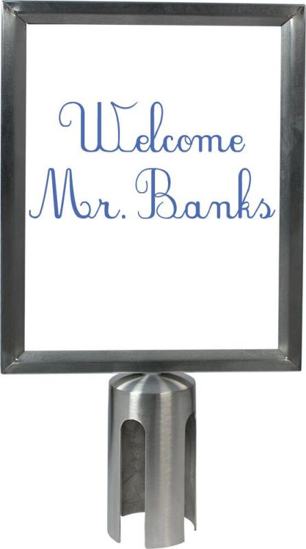 Retractable barrier poster frame - stainless steel - screws to top of post - A4