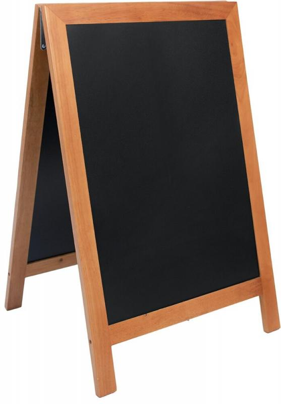 De Lux chalk board, lacquered Teak finish 55x85cm.