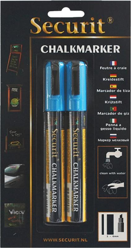 Securit® Liquid chalkmarker blue - medium 2-6mm Nib